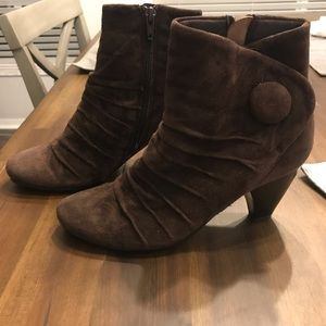 Vaneli Brown Button Suede Ankle Boots